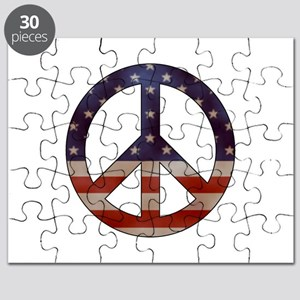Weathered Flag Peace Sign Puzzle