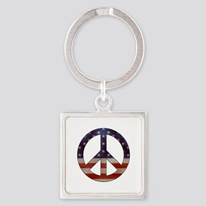 Weathered Flag Peace Sign Keychains