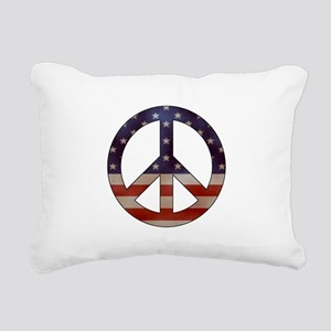 Weathered Flag Peace Sign Rectangular Canvas Pillo