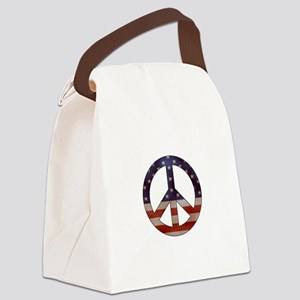 Weathered Flag Peace Sign Canvas Lunch Bag