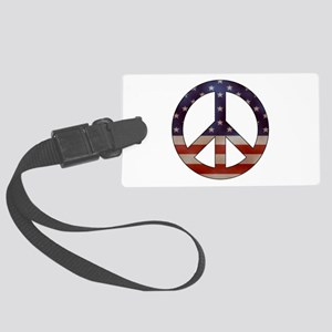 Weathered Flag Peace Sign Luggage Tag