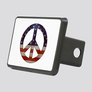 Weathered Flag Peace Sign Hitch Cover