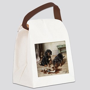 Adorable Dachshund Puppies Canvas Lunch Bag