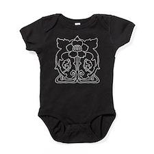 Black Flower Motif Baby Bodysuit