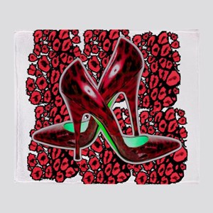 Red Leopard Stiletto's Throw Blanket