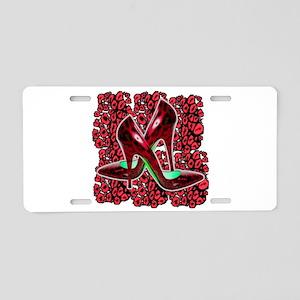 Red Leopard Stiletto's Aluminum License Plate