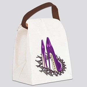 Purple Stiletto Art Canvas Lunch Bag