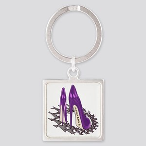 Purple Stiletto Art Square Keychain