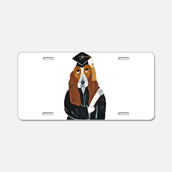 Basset Hound Graduate Aluminum License Plate