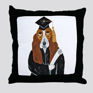 Basset Hound Graduate Throw Pillow
