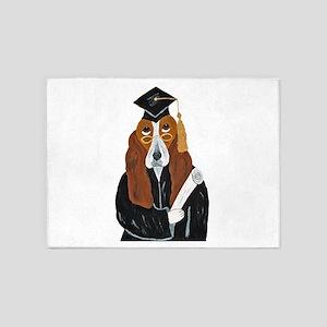 Basset Hound Graduate 5'x7'Area Rug