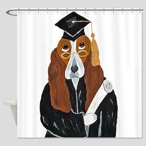 Basset Hound Graduate Shower Curtain