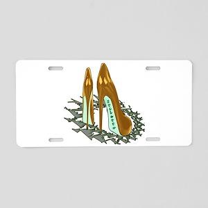 Gold Shiny Pumps Aluminum License Plate