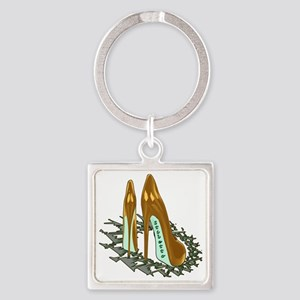 Gold Shiny Pumps Square Keychain
