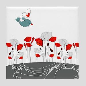 Cute Bird with Flowers Tile Coaster