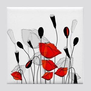 Beautiful Red Poppies Tile Coaster