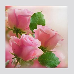 Pink Roses Tile Coaster