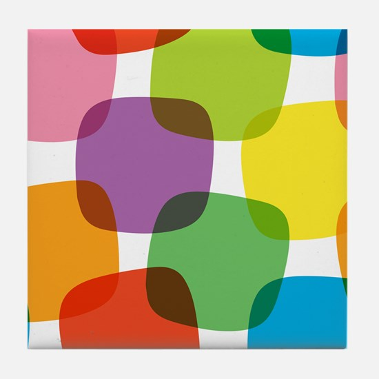 Colorful Retro Pattern Tile Coaster