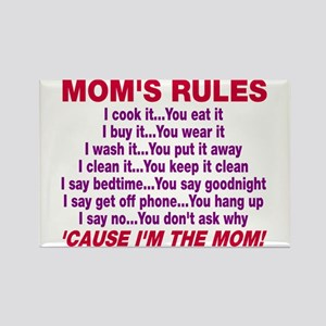 Mom's Rules Rectangle Magnet