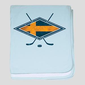 Svensk Ishockey Flag Logo baby blanket