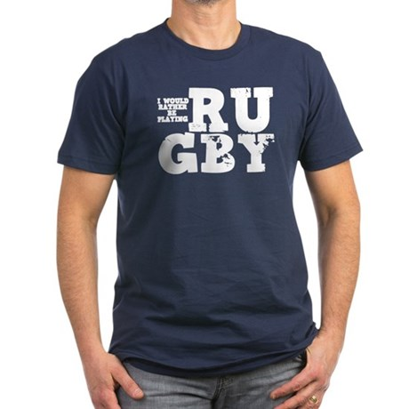 'Playing Rugby' Men's Fitted T-Shirt (dark)