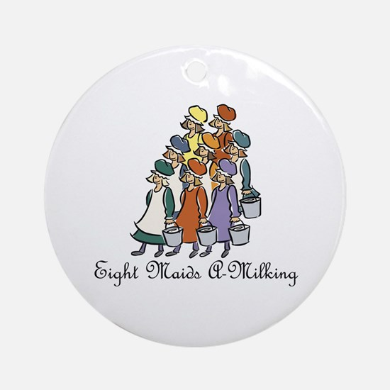 Eighth Day of Christmas Ornament (Round)