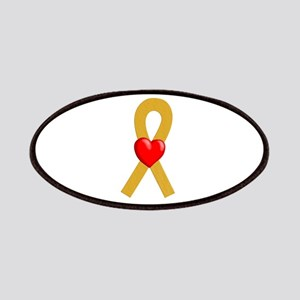 Gold Heart Ribbon Patches
