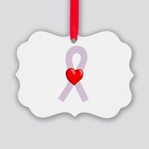 Orchid Heart Ribbon Ornament
