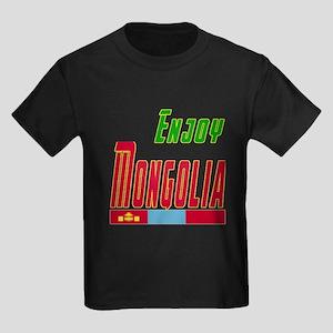 Enjoy Mongolia Flag Designs Kids Dark T-Shirt