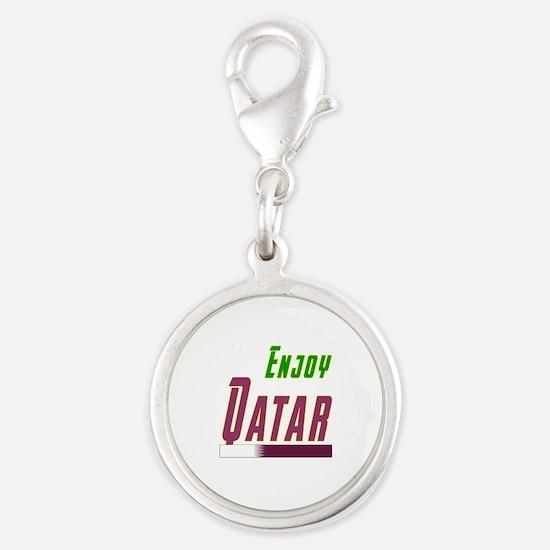 Enjoy Qatar Flag Designs Silver Round Charm