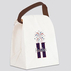 4th of July Fireworks letter H Canvas Lunch Bag