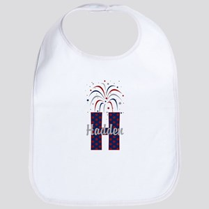 4th of July Fireworks letter H Bib