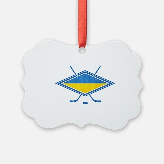 Ukrainian Ice Hockey Flag Ornament