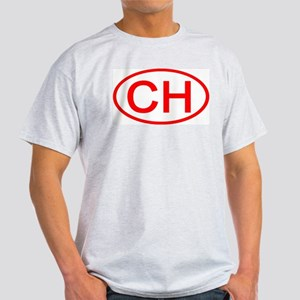 Switzerland - CH Oval Ash Grey T-Shirt