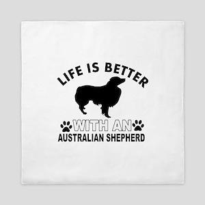 Australian Shepherd vector designs Queen Duvet