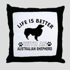 Australian Shepherd vector designs Throw Pillow