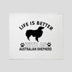 Australian Shepherd vector designs Throw Blanket