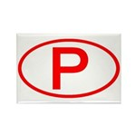 Portugal - P Oval Rectangle Magnet (10 pack)