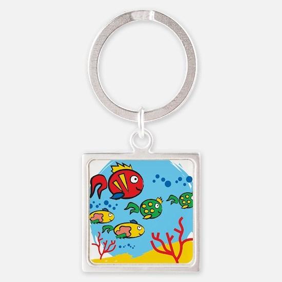 FISH AQUARIUM Square Keychain