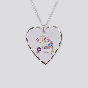 Add Text Colored Peacock Necklace Heart Charm