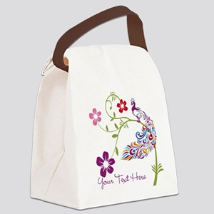 Add Text Colored Peacock Canvas Lunch Bag
