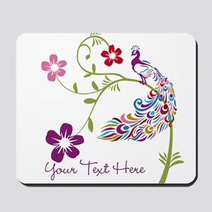 Add Text Colored Peacock Mousepad