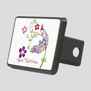 Add Text Colored Peacock Rectangular Hitch Cover