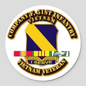 Army - Company F, 51st Infantry w SVC Ribbons Roun