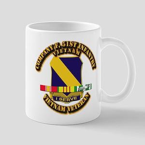 Army - Company F, 51st Infantry w SVC Ribbons Mug