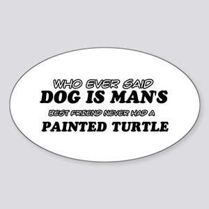 Painted Turtle designs Sticker (Oval)