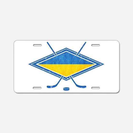 Ukrainian Ice Hockey Flag Aluminum License Plate