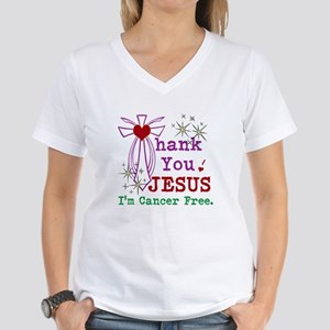 Thank You JESUS I'm Cancer Free Women's V-Neck T-S