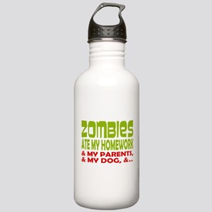 Zombie Ate Homework Water Bottle