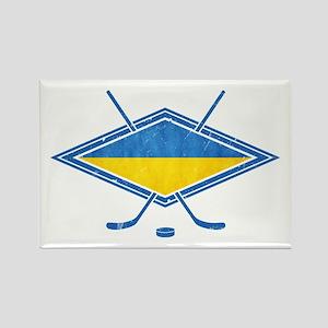 Ukrainian Ice Hockey Flag Rectangle Magnet